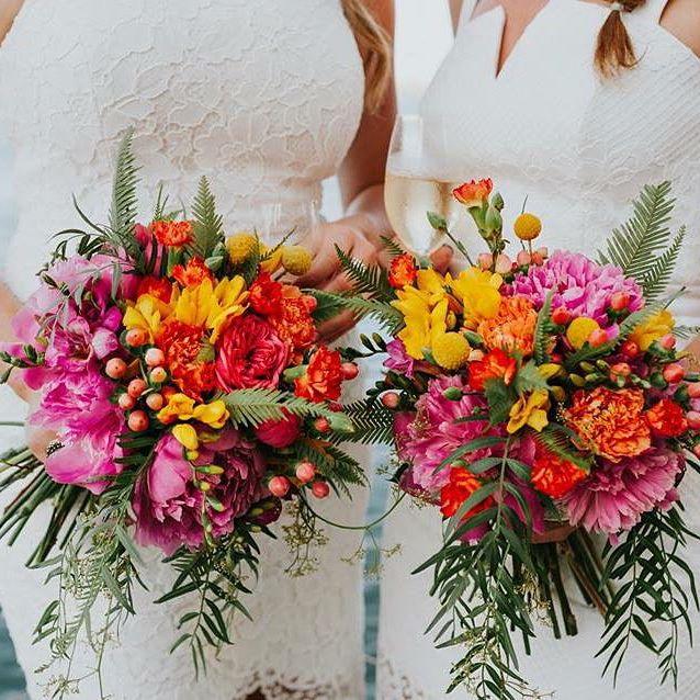 Bridal bouquets featuring Umbrella Fern