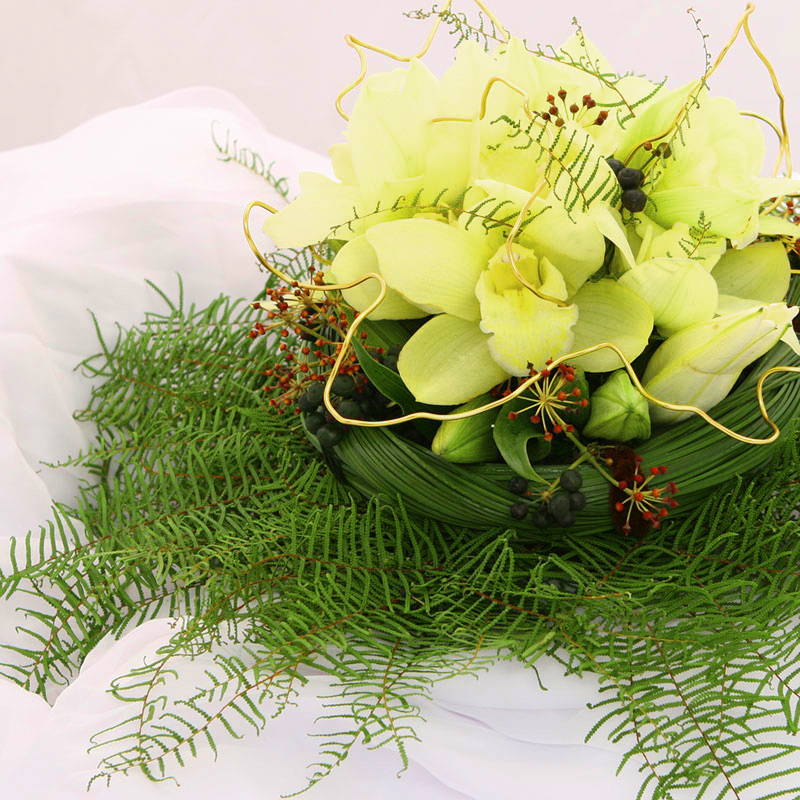 Star fern used as a collar in this arrangement.