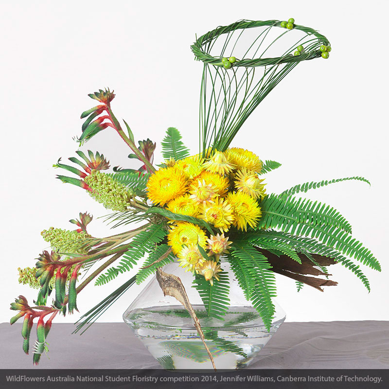 Flexi Grass and Broadleaf Umbrella Fern combined with Kangaroo Paws and other Australian Native flowers.