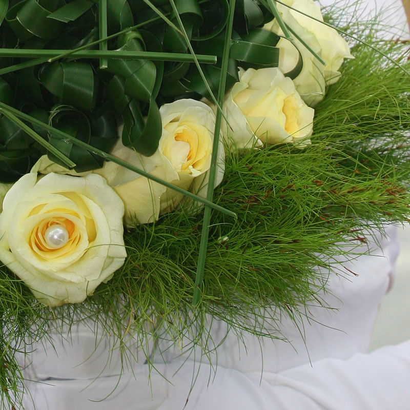 Koala Fern and Aussie Typha are used in a wedding bouquet