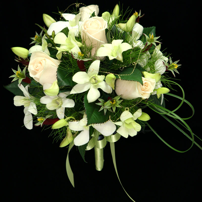 Steel Grass and Koala Fern are used to; create a wedding bouquet