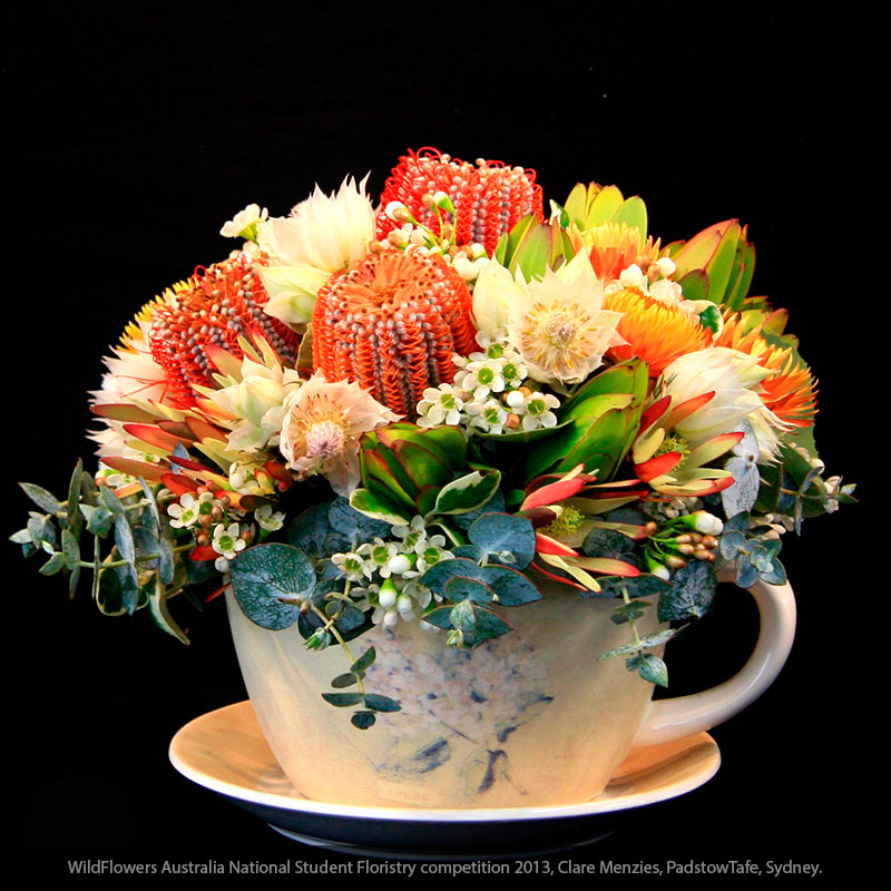 Waxflower in a teacup arrangement