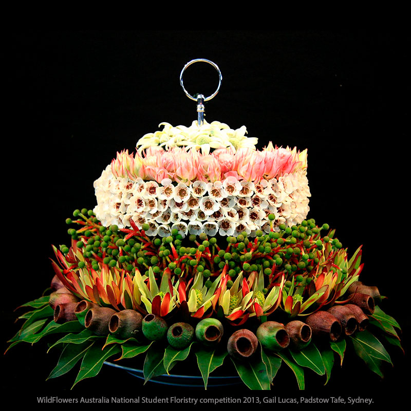 Aussie gum nuts and waxflower feature in this creative floral design