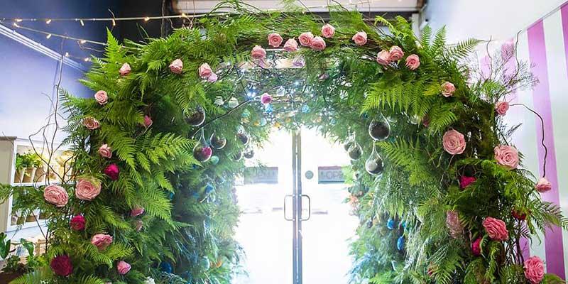 Arbor created using Premium Greens Australia Foliage and Freeze dries Everlasting Roses