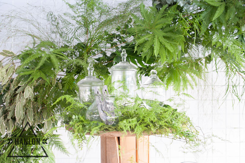 Umbrella Fern creates a focal point in this greens inspired installation