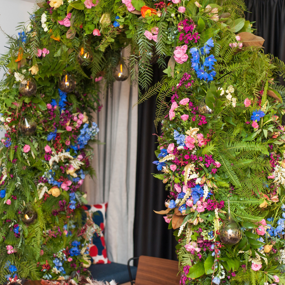 Gorgeous floral arbor created using Australian native foliage as a base