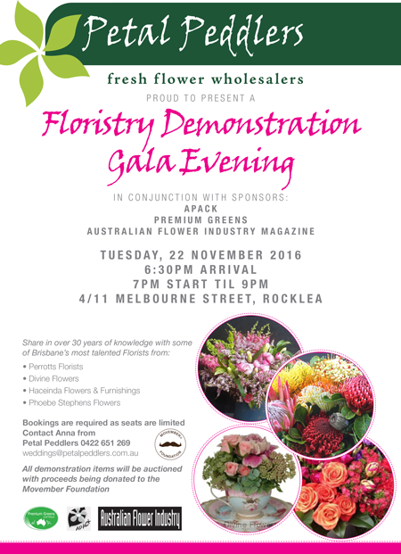 Floristry Demonstration Gala Evening Information