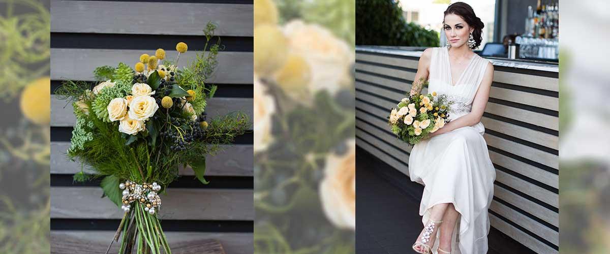Spray rose, billy buttons, Australian native foliage wedding bouquet