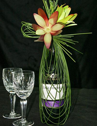Wine bottle wrapped in Flexi Grass