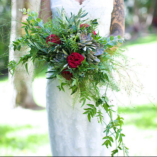 Wedding bouquet featuring Emu Feather Fern