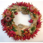 WREATH ~ Designer : Michelle Barca, Wildflowers Australia competition ~ Flowers : leucadendron, banksia, waxflower, flowering gum