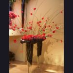 VASE ~ Steel Grass, rose petals