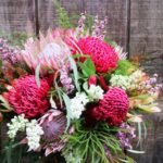 BOUQUET ~ Designer : Liz Smith, Premium Greens ~ Flowers & Foliage : waratah, king protea, leucadendron, tea tree, nutty gum, Lycopodium