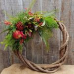 WREATH ~Designer : Premium Greens Australia ~ Foliage & Flowers : Umbrella Fern™, Sea Star Fern™, Christmas Bush, Bribie Pine, Emu Feather™. Koala Fern™, leucadendron, kangaroo paw, eucalyptus