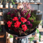 BOUQUET ~ Designer : Northside Flower Market ~ Flowers & Foliage : red roses, snapdragons, dahlias, Leptospermum Copper Glow, Nandina Flirt™, Sea Star Fern™