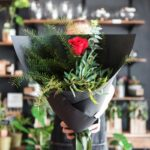 BOUQUET ~ Designer : Northside Flower Market ~ Flowers & Foliage : single red rose, eucalyptus, Sea Star Fern™